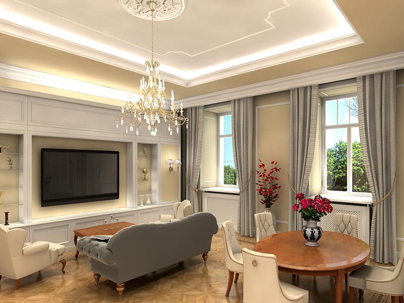 Beleuchtung in schönem Wohnzimmer